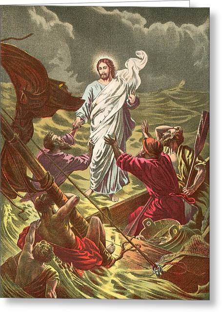 Jesus Walking On The Water Greeting Card