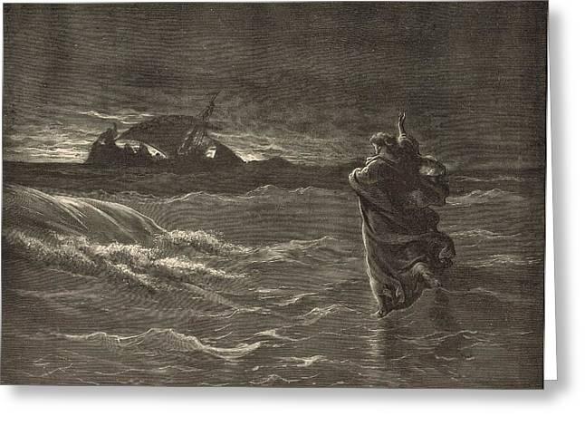Jesus Walking On The Water Greeting Card by Antique Engravings