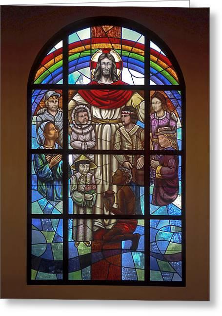 Jesus With Children Window Greeting Card