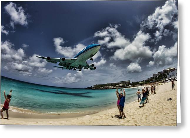 Jet Landing Over Maho Beach Greeting Card