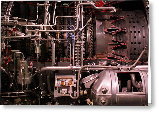 Jet Engine Red Vains Greeting Card by Joseph Semary