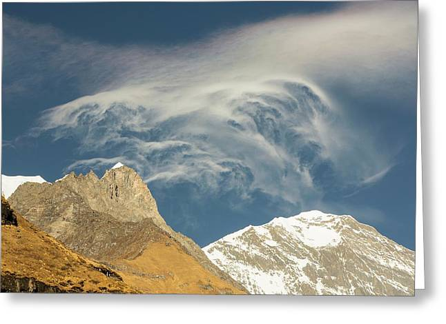 Jet Stream Winds Over The Himalayas Greeting Card