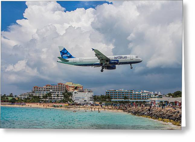 jetBlue in St. Maarten Greeting Card