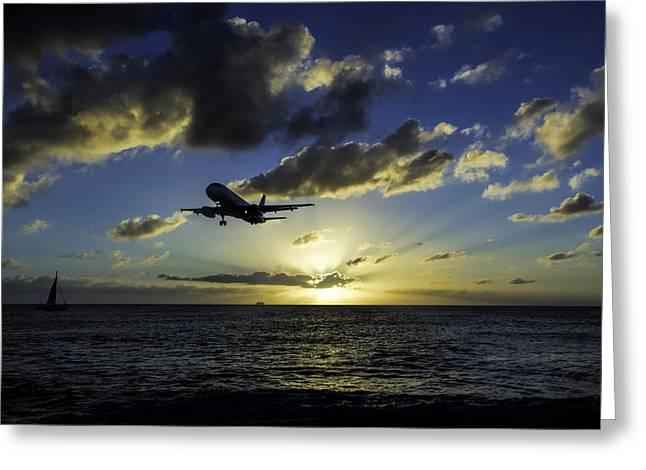jetBlue landing at St. Maarten Greeting Card by David Gleeson