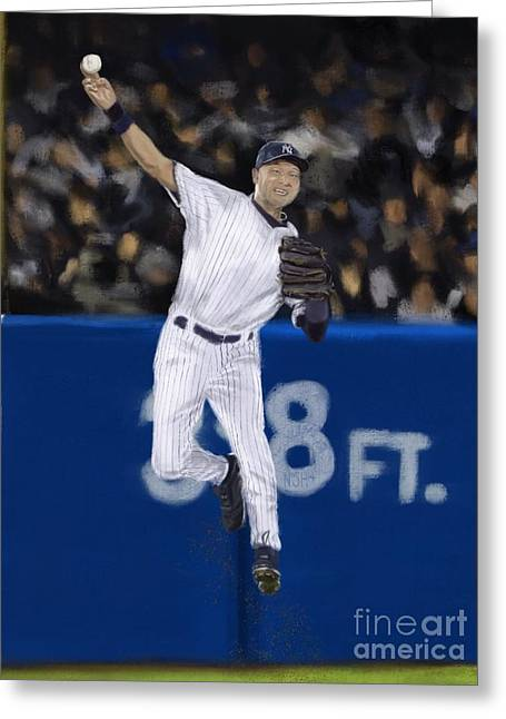 Jeter Jump Throw Greeting Card by Jeremy Nash