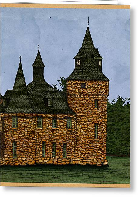 Greeting Card featuring the drawing Jethro's Castle by Meg Shearer