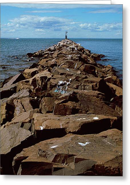 Jetty A Sea, Montauk Point, Montauk Greeting Card by Panoramic Images
