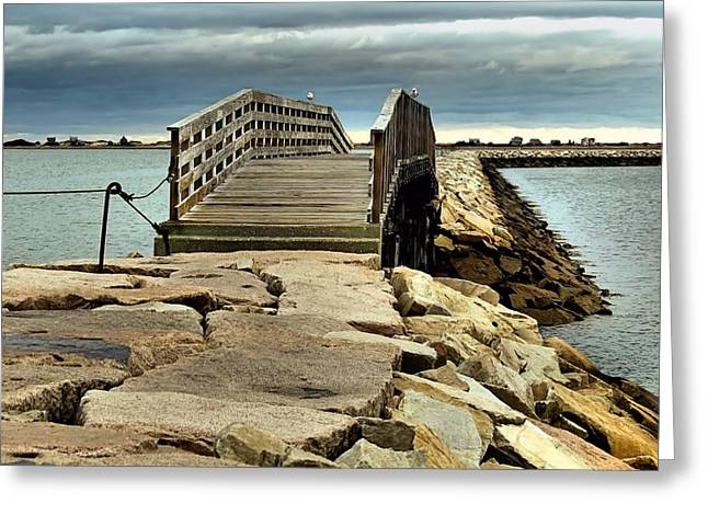 Jetty Bridge Greeting Card by Janice Drew