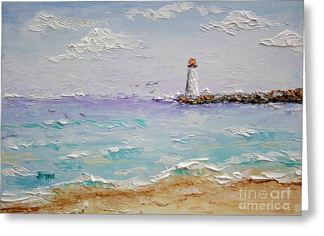 Jetty Lighthouse Greeting Card by Jimmie Bartlett