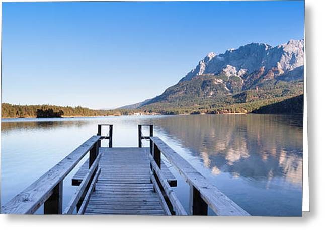 Jetty On The Lake Eibsee Greeting Card
