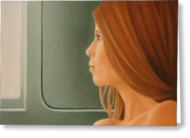 Jeune Fille Dans Un Train Greeting Card by Michel Campeau