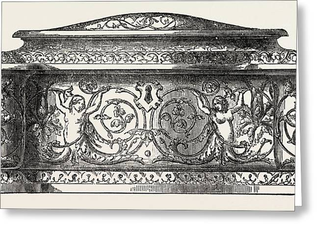 Jewel Casket, 1851 Engraving Greeting Card by Jennens And Bettridge, English School