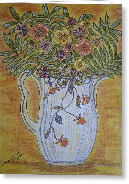 Greeting Card featuring the painting Jewel Tea Pitcher With Marigolds by Kathy Marrs Chandler