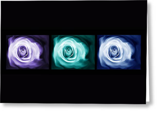 Jewel Tone Abstract Roses Triptych Greeting Card by Jennie Marie Schell