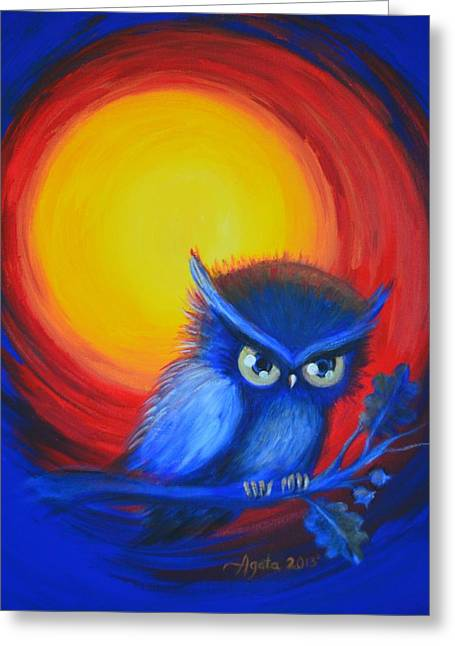 Jewel-tone Vortex With Owl Greeting Card