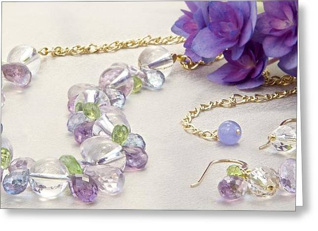 Jeweled Hydrangea Gold-filled Choker Necklace And Matching Earring Set  Greeting Card by WDM Gallery