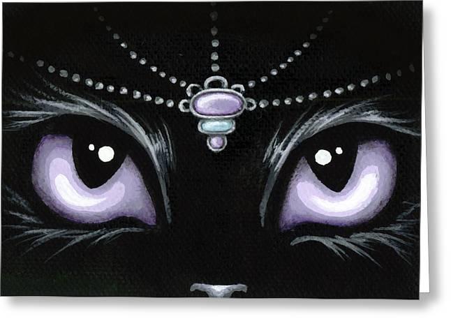 Jeweled Kitty Lilac Topaz Greeting Card by Elaina  Wagner