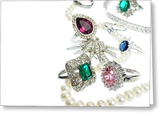 Jewellery With Gemstones And Diamonds Greeting Card by Science Photo Library