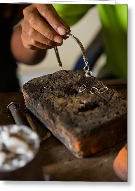Greeting Card featuring the photograph Jewelry Making - Bali by Matthew Onheiber