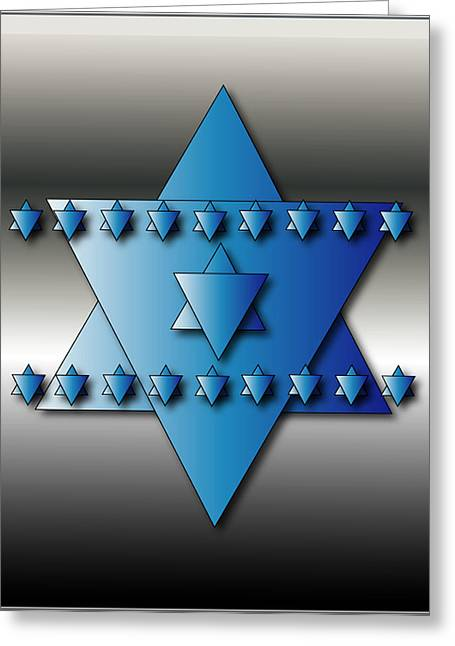Greeting Card featuring the digital art Jewish Stars by Marvin Blaine