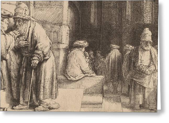 Jews In The Synagogue Greeting Card by Rembrandt