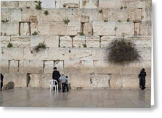 Jews Praying At Western Wall Greeting Card