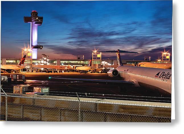 Jfk Airport Tower At Dawn Greeting Card by Jonathan Gewirtz