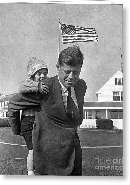 Greeting Card featuring the photograph Jfk And Caroline Kennedy 1960 by Martin Konopacki Restoration