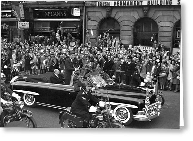 Jfk Cavalcade Dublin 1963 Greeting Card