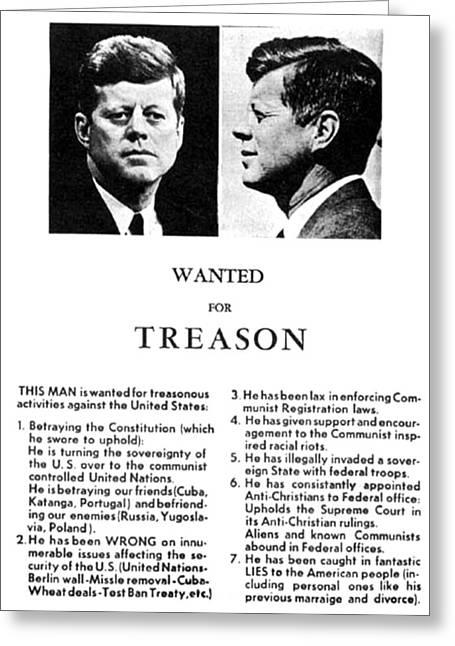 Jfk Treason Poster Greeting Card