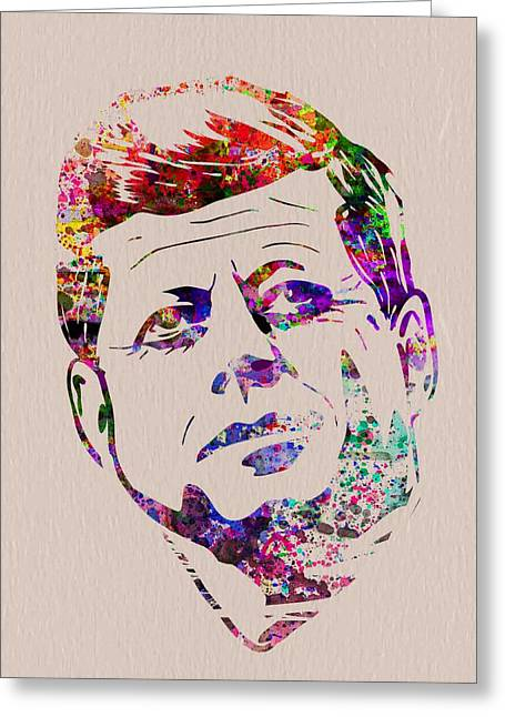 Jfk Watercolor Greeting Card by Naxart Studio