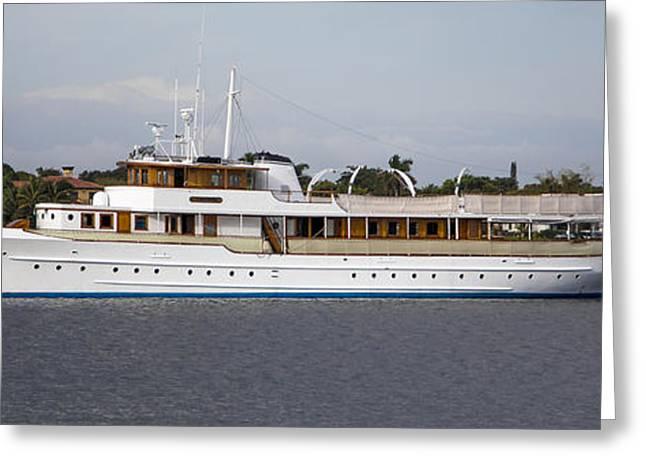 Jfk Yacht Greeting Card by Debra and Dave Vanderlaan