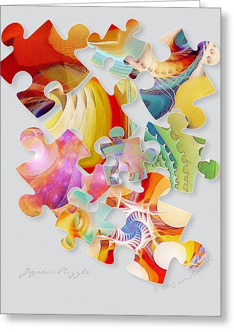 Jigsaw Puzzle Greeting Card by Gayle Odsather