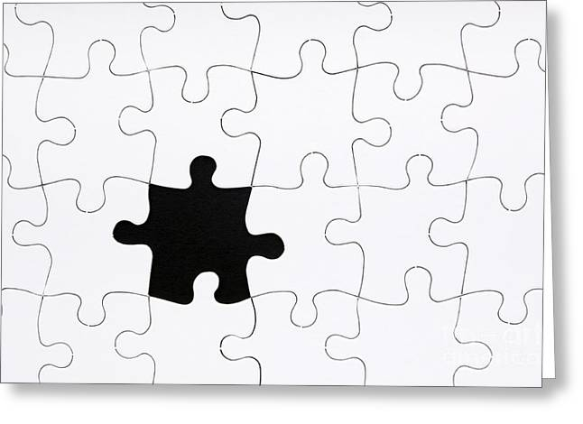 Jigsaw Puzzle Missing Piece Greeting Card by Tim Hester