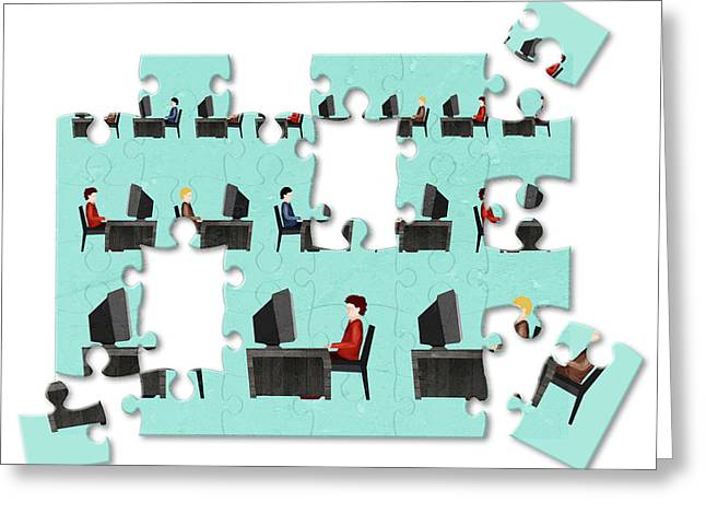 Jigsaw Puzzle Of Businessmen Greeting Card by Fanatic Studio / Science Photo Library