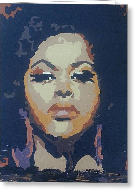 Jill Scott Greeting Card by Rachel Natalie Rawlins