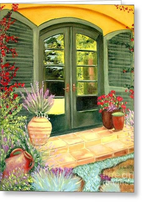 Jill's Patio Greeting Card by Laurie Morgan