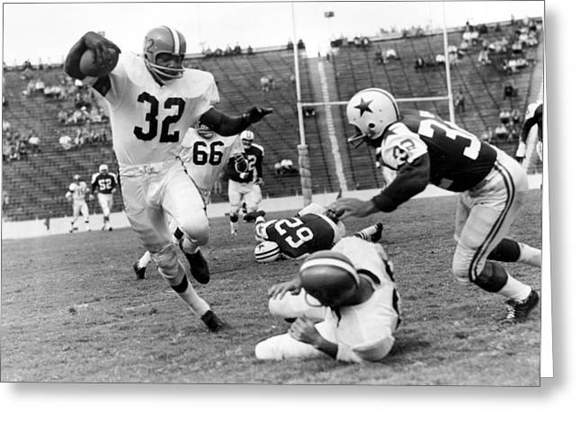 Jim Brown Running With The Ball Greeting Card by Gianfranco Weiss