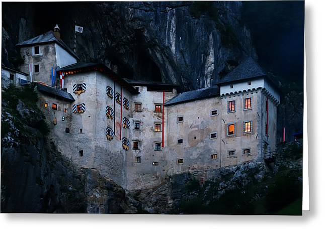 Jim Jam Predjama Castle Greeting Card by Graham Hawcroft pixsellpix
