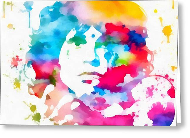 Jim Morrison Paint Splatter Greeting Card by Dan Sproul