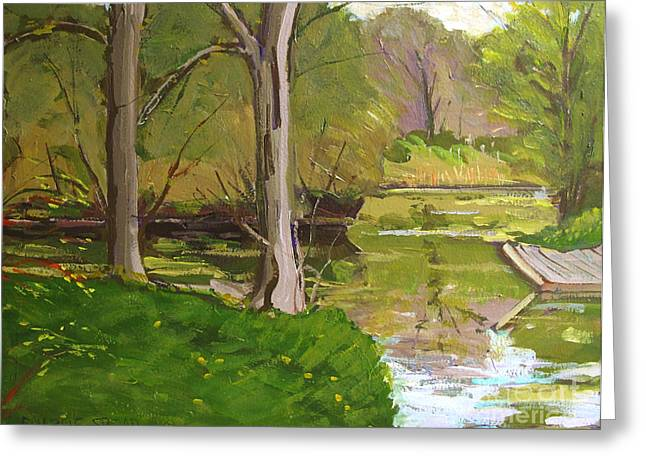 Jim Raders Pond Am Greeting Card by Charlie Spear