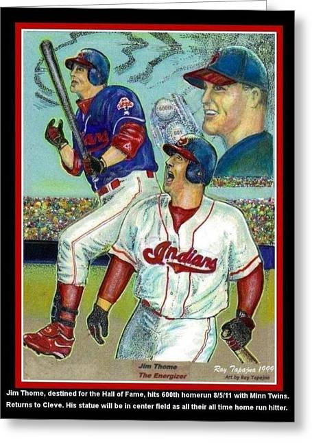 Jim Thome Cleveland Indians Greeting Card by Ray Tapajna