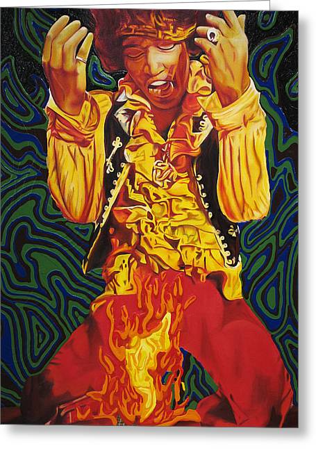 Jimi Hendrix Fire Greeting Card by Joshua Morton