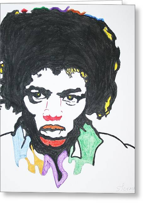 Greeting Card featuring the painting Jimi Hendrix by Stormm Bradshaw