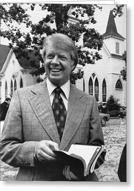 Jimmy Carter Holding His Bible Greeting Card by Underwood Archives