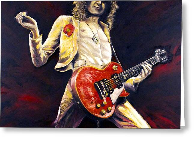 Jimmy Page Achilles Last Stand Greeting Card by Mike Underwood