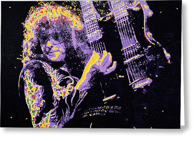 Jimmy Page Greeting Card by Barry Novis