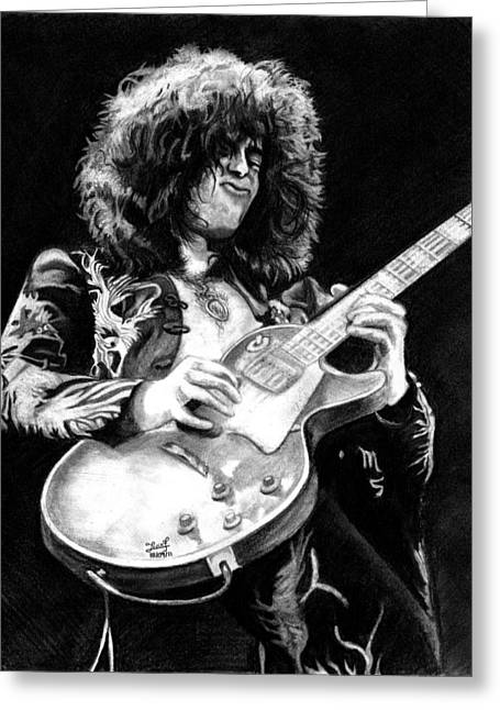 Jimmy Page  Greeting Card by Irvin Fonseca