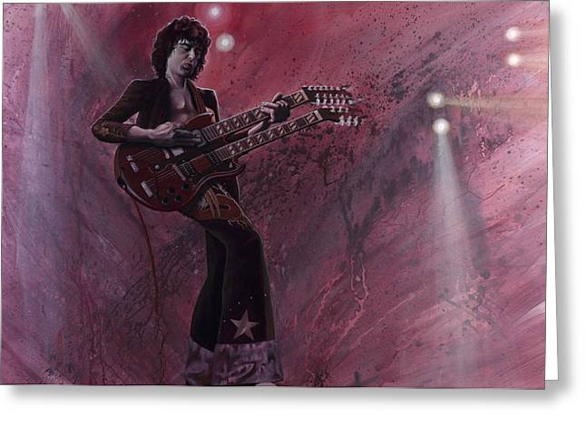 Jimmy Page Greeting Card by Robert  Laskey