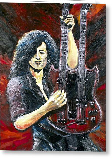 Jimmy Page The Song Remains The Same Greeting Card by Mike Underwood